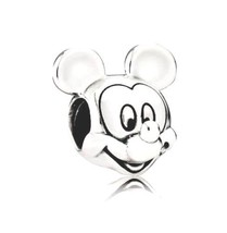 Mickey Mouse Silver Charm Bead EuroStyle for European Style Necklace Bra... - $0.99