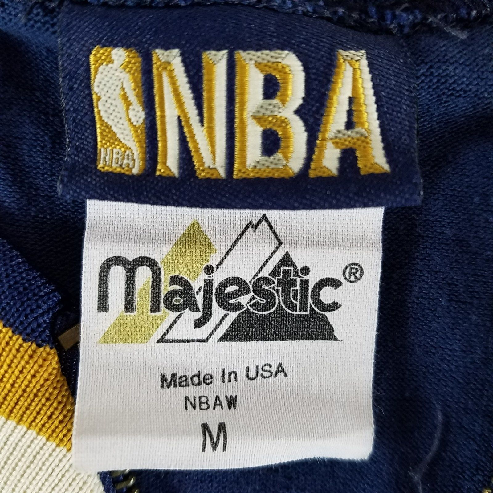 Vtg NBA Majestic M Blue Gold Warm Up Jersey Shirt 50th Anniversary 96-97