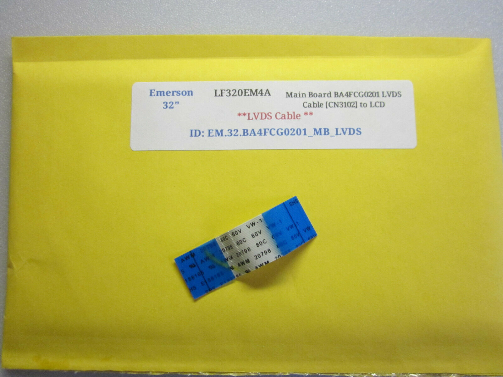 "Primary image for Emerson 32"" LF320EM4A Main Board BA4FCG0201 Cable [CN3101] to Keypad Controller"