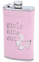 6 oz. Stainless Steel Flask Girls Nite Out Pink Wrap Girl Screw Down Cap... - $6.61