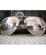 Mirrored Aviator Sunglasses Silver Mirror Lenses Gold Metal Frame - $9.59