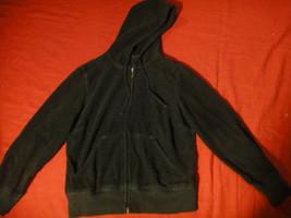 Juicy Couture Black Corudoy Full Zip Draw String hoodie jacket Sz S  Elb... - $12.08