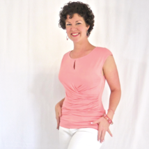 Coral Twist Front Top, Side Shirring, Keyhole, Coral Ruched Blouse, Side Wrap