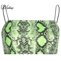 Weekeep Cropped Snake Print Camis Women Sexy Bodycon Backless Crop Top 2... - $20.98