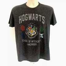 Harry Potter Hogwarts School Wizardry Gray Graphic SS Tee Large Stretch ... - £14.34 GBP