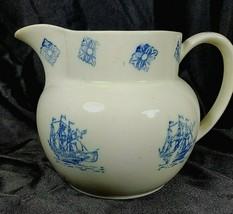 Pottery Blue Transferware Stoneware Ship Schooner hairline crack mark? P... - $28.98