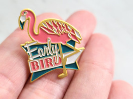 Early Bird Pink Flamingo Enamel Pin, Butterfly Clasp Back