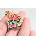 Early Bird Pink Flamingo Enamel Pin, Butterfly Clasp Back - $12.00