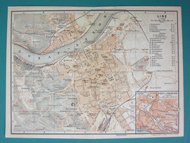 "1905 MAP Baedeker - AUSTRIA Linz on Danube Town City Plan 6 x 8"" (15 x 2... - $6.71"