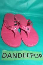 Coach Pink Flip Flops Patent Leather Sandals Juney Hibiscus Size 6 - $39.59