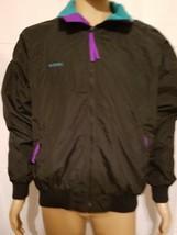 Black Vintage Columbia Sportswear Fleece Lined Coat Jacket Mens Size Large Ski - $40.17