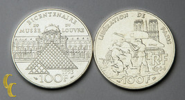 1993-1994 France 100 Francs Silver Coins Lot of 2 KM# 1018.1 & 1045.1 - $69.30