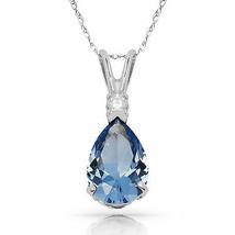 3.05 CT Aquamarine Pear Shape 2 Stone Gemstone Pendant & Necklace 14K W ... - $147.51