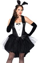 Women's Sexy 4 Piece Black and White Tuxedo Bunny Deluxe Costume