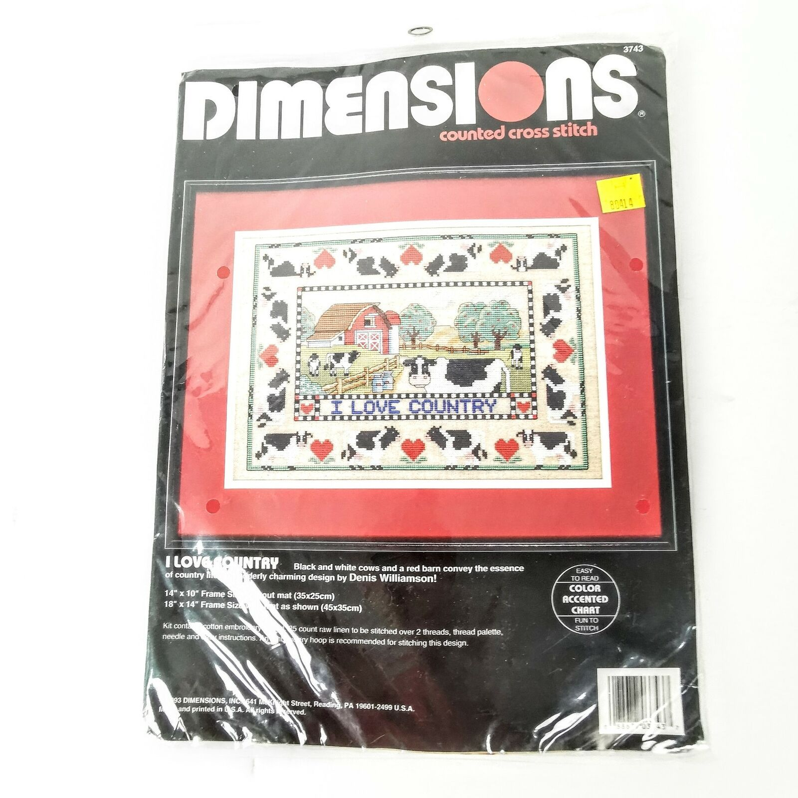 Dimensions Counted Cross Stitch I Love Country Sewing Kit Farm Cow Sampler - $27.95