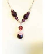 purple glass bead drop y necklace silver chain handmade fashion jewelry - $5.99