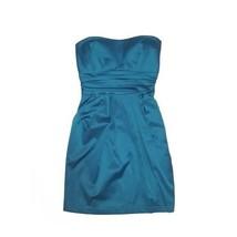 Forever 21 Strapless Satin Teal Blue Mini Party Prom Semi Formal Short D... - $19.79