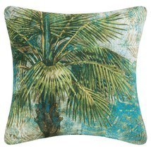 """18"""" Teal, Olive Green and Tan Tropical Palm Square Outdoor Throw Pillow ... - $33.73"""