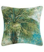 "18"" Teal, Olive Green and Tan Tropical Palm Square Outdoor Throw Pillow ... - $33.73"