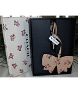 Coach Boxed Leather Printed Floral Bow Charm Ornament 27417 Beechwood - $29.00