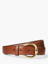 Lauren Ralph Lauren Bennington Leather Belt (Brown/Gold, L) - $42.00