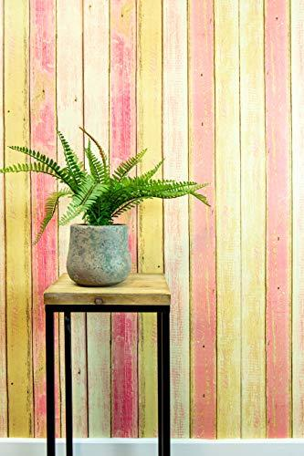 Textured Peel and Stick Wallpaper by Happy House – Faux Distressed Wood Pink for