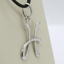 18K WHITE GOLD PENDANT CHARM INITIAL LETTER H, MADE IN ITALY 0.8 INCHES, 21 MM image 2