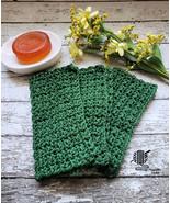 Dark Green Kitchen Dish Cloth Organic Cotton Dishcloths Set Handmade - $20.75