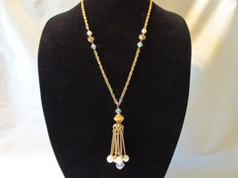 Vintage Tasseled Gold Toned Necklace with Faux Pearls & Aurora Borealis ... - $9.99