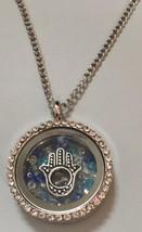 Necklace with Floating Hamsa Hand Swarovski Crystals Pendant Fatima Evil... - $17.99