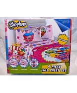 NEW NIP Shopkins Full Bedding Sheet Set 2 Pillowcases 1 Flat 1 Fitted  - $24.99