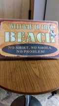 """Whimsical Nostalgic  """" Welcome To The  Beach""""  New Metal/Tin Sign image 1"""