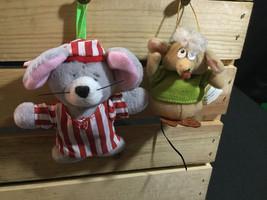Pair of Plush Mice Holiday Christmas Ornaments (Lot) - $5.86