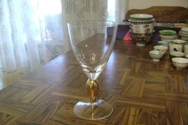Elegant Vintage Clear Wine Water Beer Glass with Gold leaf bead stem 6.7... - $5.93