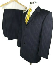 "Hugo Boss Three Button Suit 42 S 34 x 28 with 2"" Hem Black with Blue Pin... - $95.00"