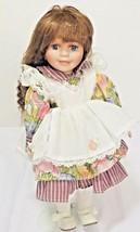 Collectors Porcelain Doll Brunette Hair Blue Eyes Vintage Kids Toy 12 In... - $27.71
