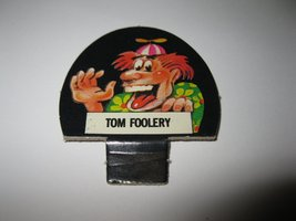 1986 Hollywood Squares Board Game Piece: Tom Foolery Player tab - $1.00