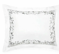 Sferra Griante King Pillow Sham Grey Scroll Embroidery Cotton Percale It... - $114.00