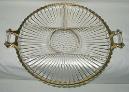 Jeannette Glass National Gold Pattern 6-Part Handled Relish Tray - $19.75