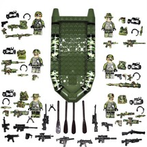 62 PCS Set 6 Army Rangers Minifigures 4 Sided Printing With Army Boat Fo... - $18.50