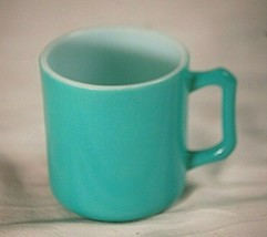 "Hazel Atlas Milk Glass Cup Mug Teal Turquoise 3"" D Handle Child Size Vintage MCM - $16.82"