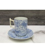 Antique Japanese Blue Flying Phoenix Bird Eagle Demi Cup Saucer Stick Ha... - $33.66