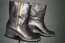 Lands' End Black Leather Side Zip Mid Calf Heeled Boots Sz. 7.5B Excellent! - $49.49