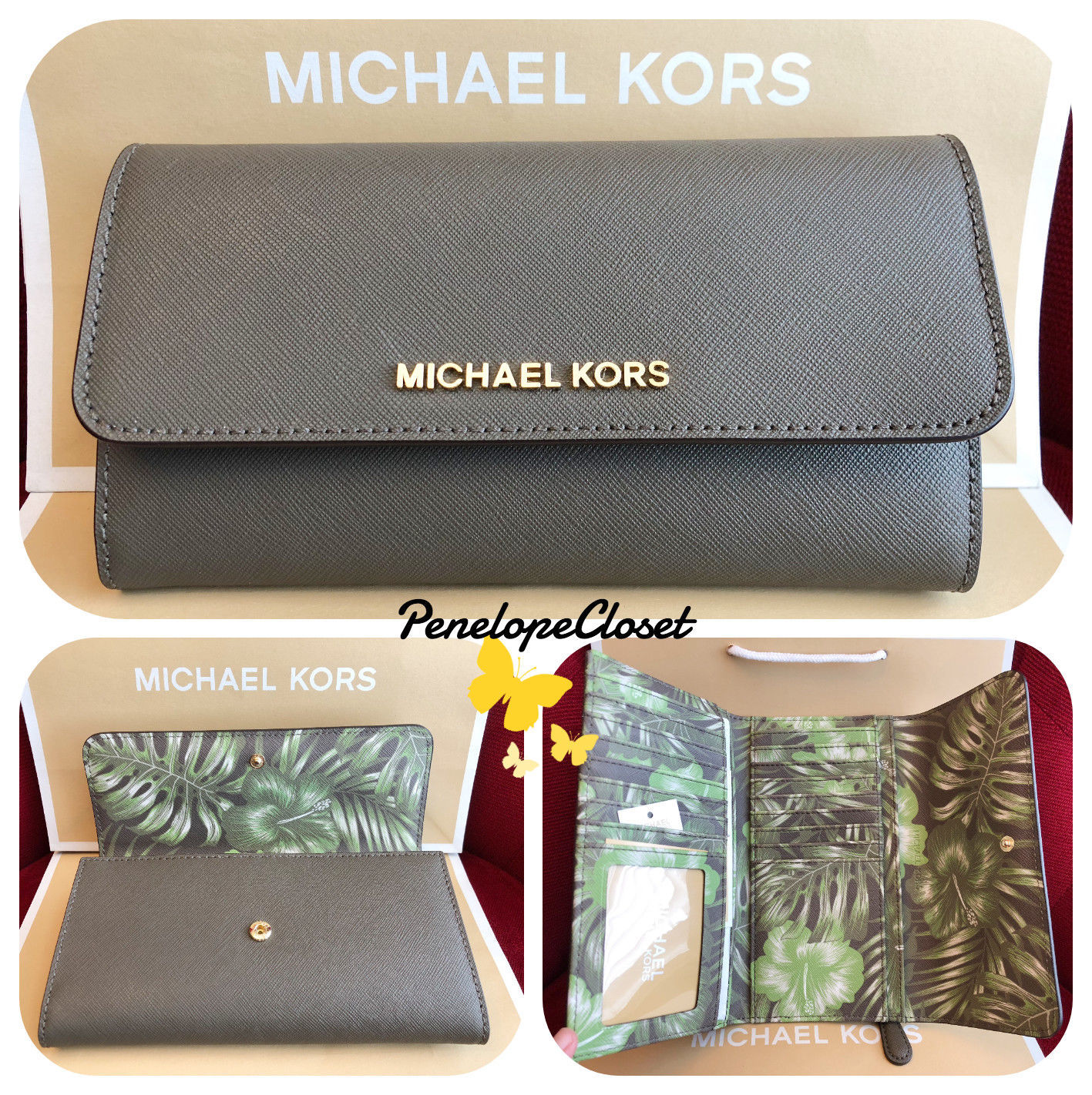 255e2f13ce3b S l1600. S l1600. Previous. NWT MICHAEL KORS JET SET TRAVEL PALM LEAF PRINT LARGE  TRIFOLD WALLET ...