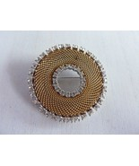 Vintage Brooch Gold Tone Mesh Wreath Rhinestones signed Bouche - $48.95