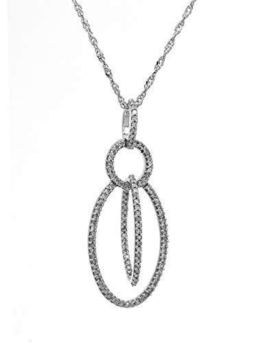 AFJewels 14 K White Gold 0.29 Cttw White Diamond Love Orbit Pendant