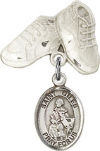 Sterling Silver Baby Badge with St. Giles Charm and Baby Boots Pin 1 X 5/8 inch - $59.33