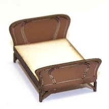 4Ground 28mm Furniture: Light Wood Double Wood Bed