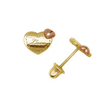 Love Double Heart Child Stud Earrings Screw Back 14K Yellow and Rose Gold - $68.30