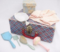 Vintage Doll Trunk w Toy Hair Brush Comb Mirror Baby Rattle Sweater Box Lot - $29.69